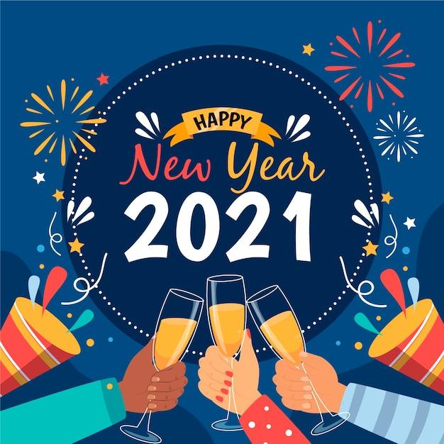 Hand getekend nieuw jaar 2021 Gratis Vector