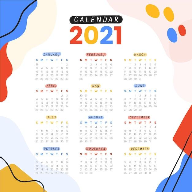 Hand getekend nieuwe jaar 2021 kalender Premium Vector