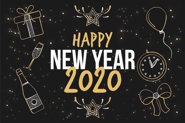 Hand getekend nieuwjaar 2020 achtergrond Gratis Vector