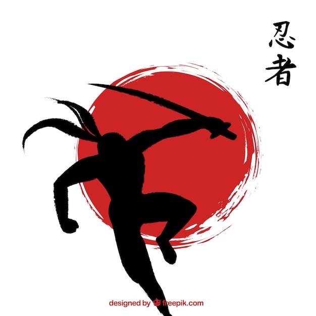 Hand getekend ninja warrior achtergrond Gratis Vector