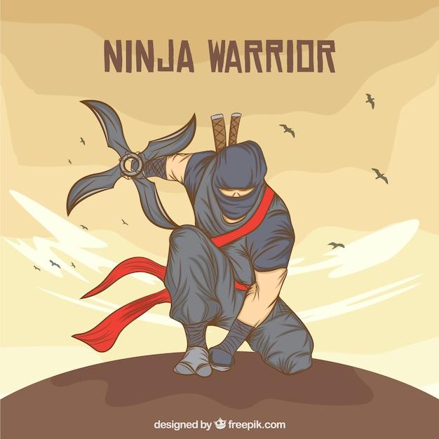 Hand getekend ninja warrior achtergrond Premium Vector