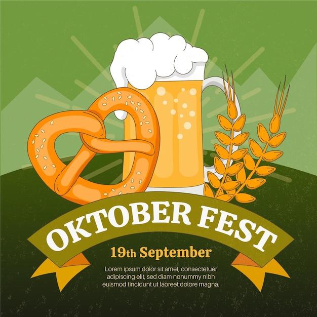 Hand getekend oktoberfest concept Gratis Vector