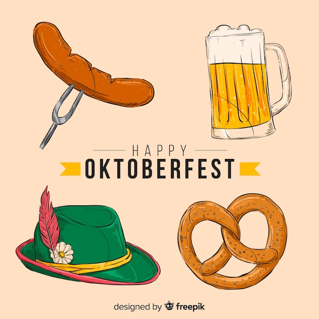 Hand getekend oktoberfest element collectie Gratis Vector