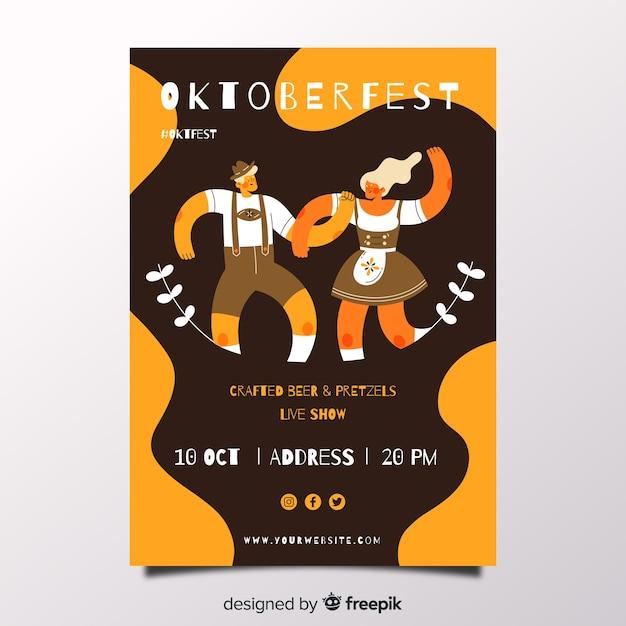 Hand getekend oktoberfest poster sjabloon Gratis Vector