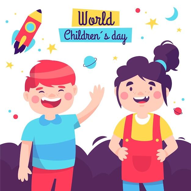 Hand getekend ontwerp kinderdagevenement Gratis Vector