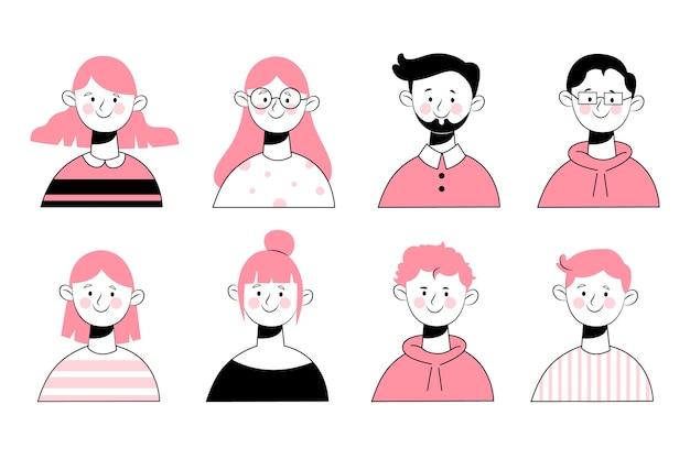 Hand getekend ontwerp mensen avatars Gratis Vector