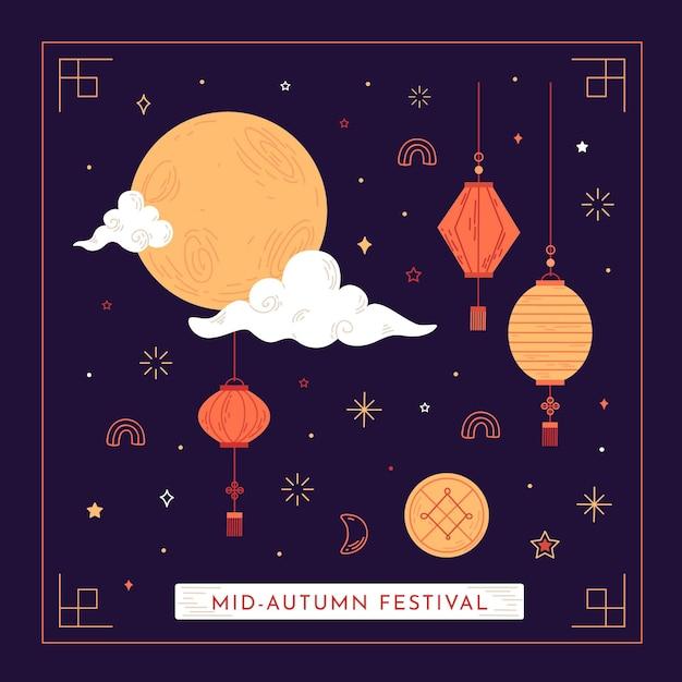 Hand getekend ontwerp midden herfst festival Premium Vector