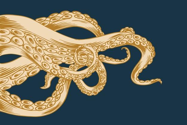 Hand getekend ontwerp octopus tentakels Gratis Vector