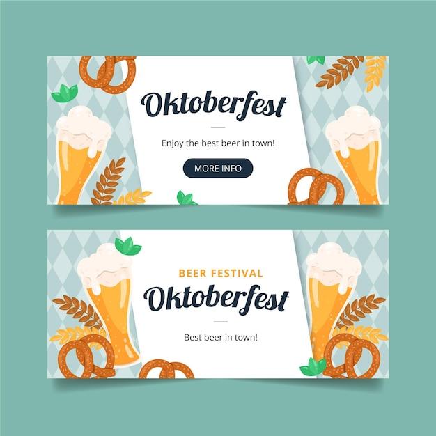 Hand getekend ontwerp oktoberfest banners Gratis Vector