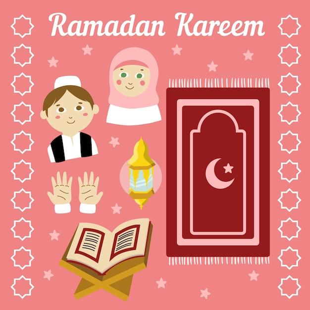 Hand getekend ontwerp ramadan Gratis Vector