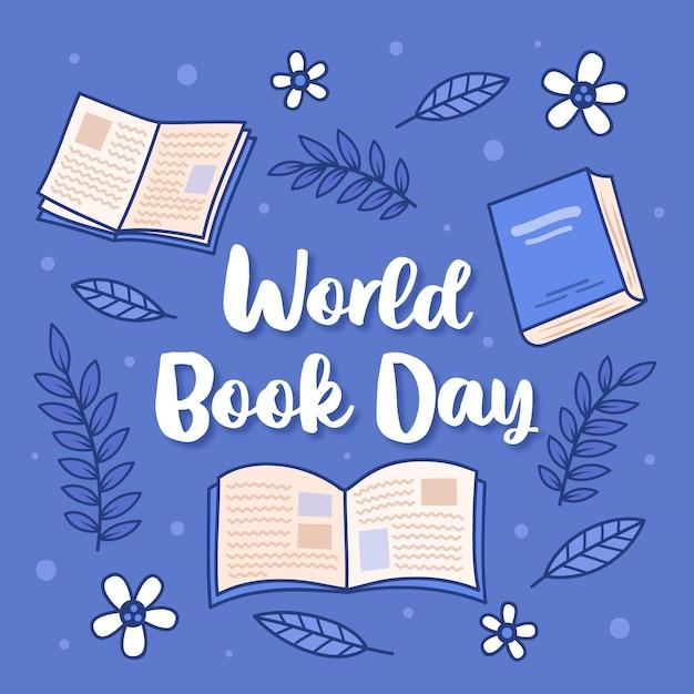 Hand getekend ontwerp voor wereldboekendag met belettering Gratis Vector