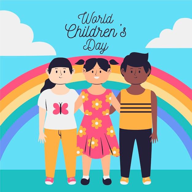 Hand getekend ontwerp wereldkinderen dag Gratis Vector