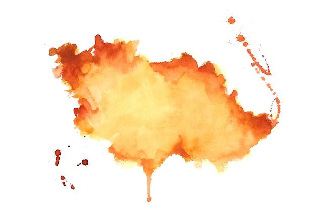 Hand getekend oranje aquarel vlek textuur achtergrond Gratis Vector