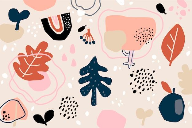 Hand getekend organische vormen abstracte achtergrond Gratis Vector