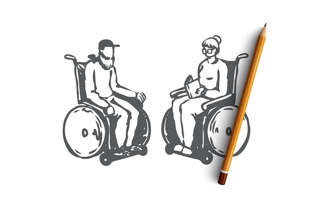 Hand getekend oud koppel in een verpleeghuis op rolstoelen concept schets Premium Vector