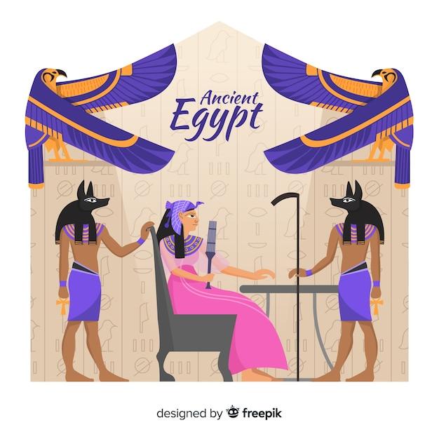 Hand getekend oude egypte samenstelling Gratis Vector