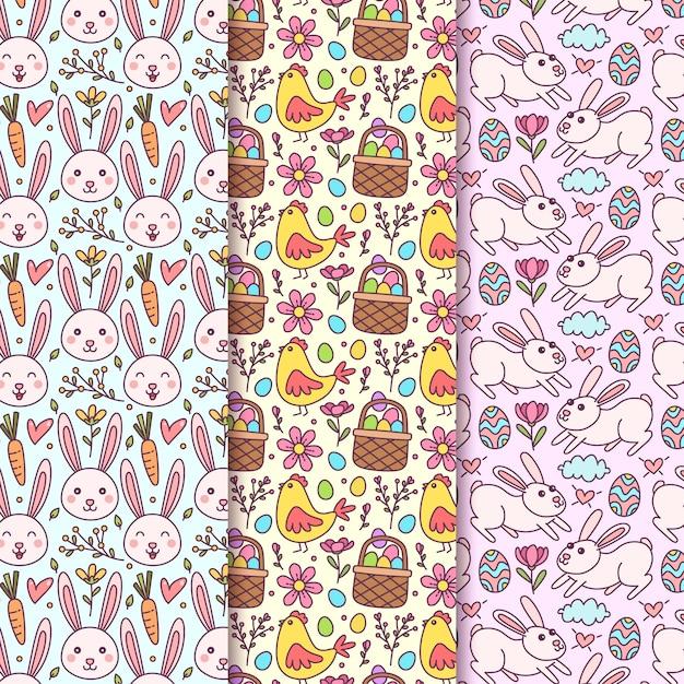Hand getekend pasen naadloze patroon met konijntjes Gratis Vector