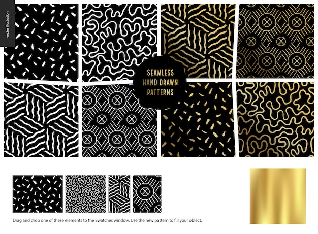 Hand getekend patroon, zwart Premium Vector
