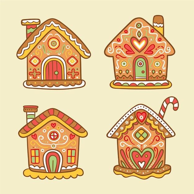 Hand getekend peperkoek huis collectie Gratis Vector