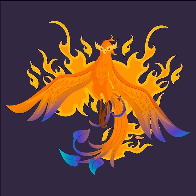 Hand getekend phoenix illustratie Gratis Vector