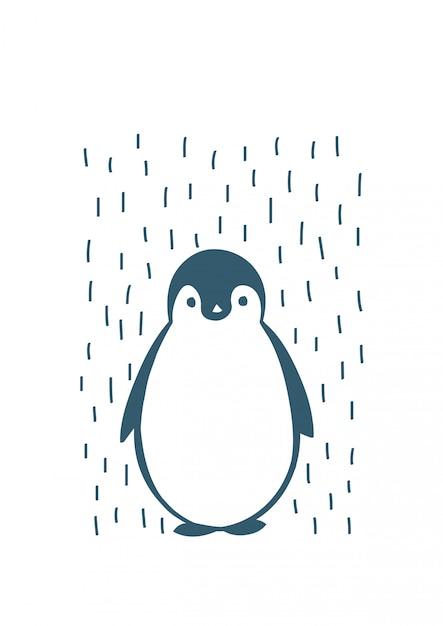 Hand getekend pinguïn illustratie Premium Vector