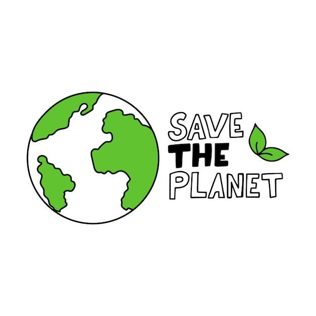 Hand getekend planeet aarde. Premium Vector