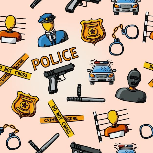 Hand getekend politie kleurenpatroon Premium Vector