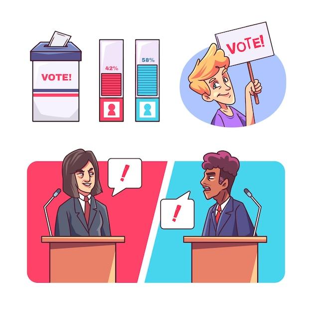 Hand getekend politiek debat illustratie Gratis Vector