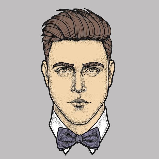 Hand getekend portret van man volledig gezicht met strikje Premium Vector