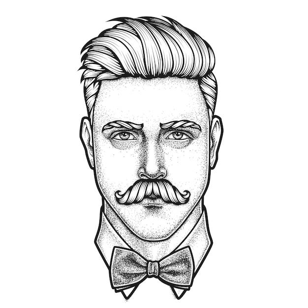 Hand getekend portret van snor man volledig gezicht Premium Vector