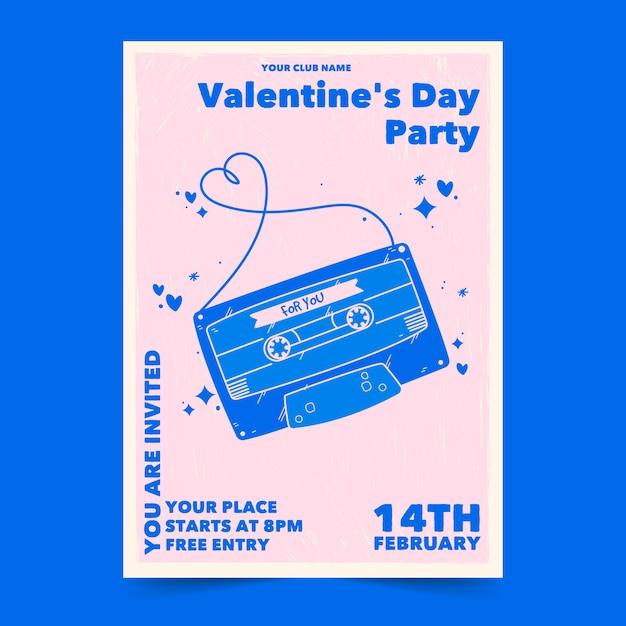 Hand getekend poster voor valentijnsdag feest Gratis Vector