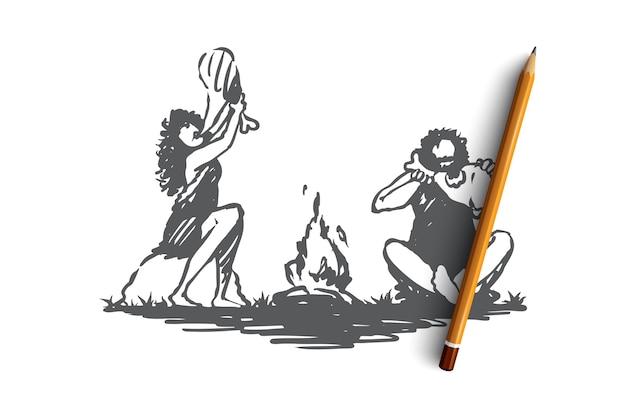 Hand getekend primitieve mensen eten in de buurt van vreugdevuur concept schets Premium Vector