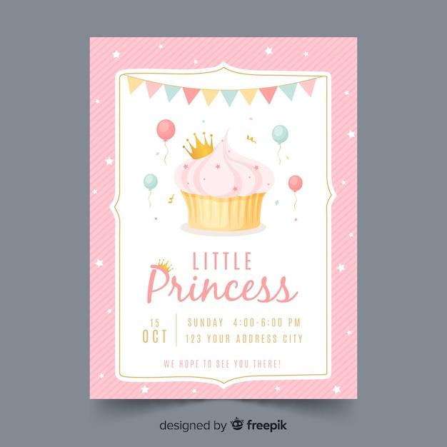 Hand getekend prinses feest uitnodiging sjabloon Gratis Vector
