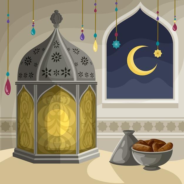 Hand getekend ramadan concept Gratis Vector