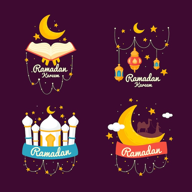 Hand getekend ramadan label collectie Gratis Vector