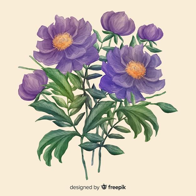 Hand getekend realistische bloemen boeket Gratis Vector