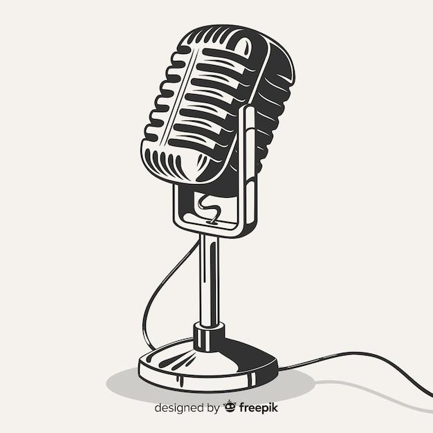 Hand getekend realistische retro microfoon Gratis Vector