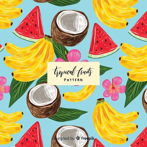 Hand getekend realistische tropische fruit patroon Gratis Vector
