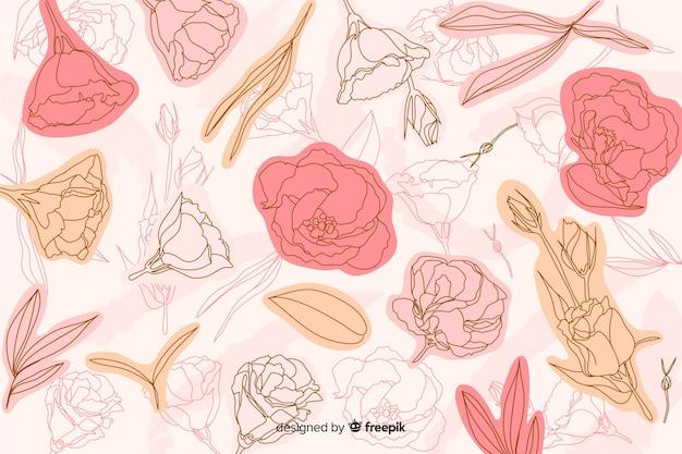 Hand getekend roze rozen achtergrond Gratis Vector