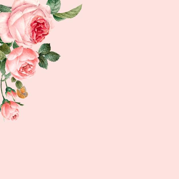 Hand getekend roze rozen frame op pastel roze achtergrond Gratis Vector