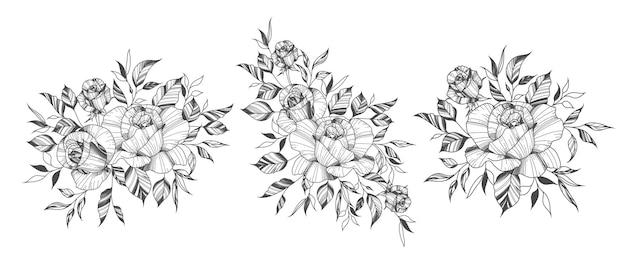 Hand getekend rozen bloemen arrangementen in tattoo-stijl Gratis Vector