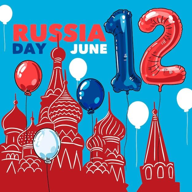 Hand getekend rusland dag achtergrond met ballonnen Gratis Vector