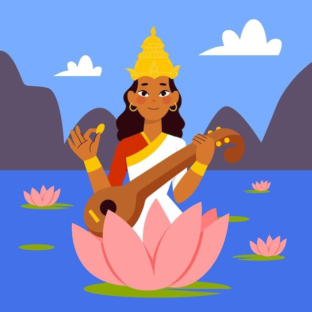 Hand getekend saraswati illustratie met veena Gratis Vector