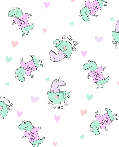 Hand getekend schattig dinosaurus patroon ontwerp Premium Vector