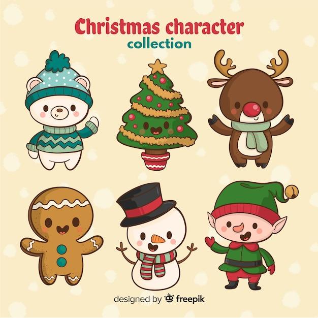 Hand getekend schattig kerst karakter Gratis Vector
