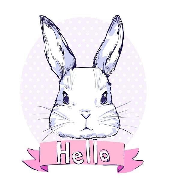 Hand getekend schattig konijn vectorillustratie Premium Vector
