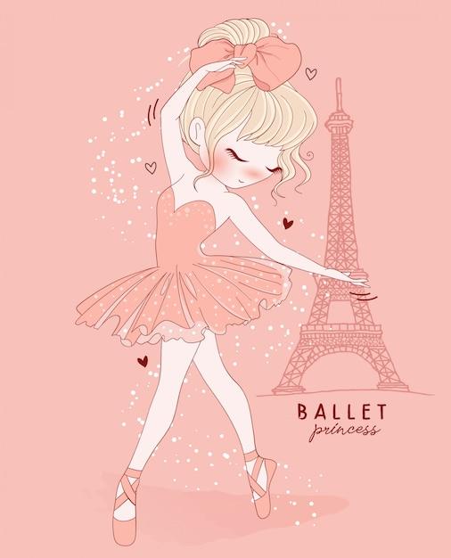 Hand getekend schattig meisje balletdans met parijs scène Premium Vector