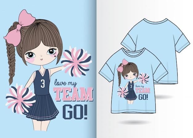 Hand getekend schattig meisje illustratie met t-shirt ontwerp Premium Vector