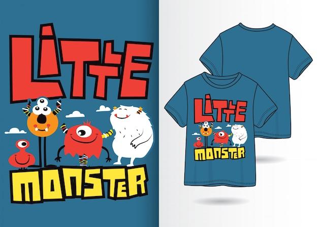 Hand getekend schattig monster illustratie met t-shirt design Premium Vector