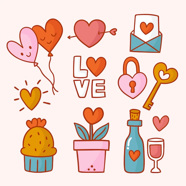 Hand getekend schattig valentijnsdag element set Gratis Vector